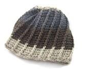 Holiday Sale Crochet Beanie Hat, Mens Crochet Beanie, Womens Accessories, Merino Wool Yarn - The Summit