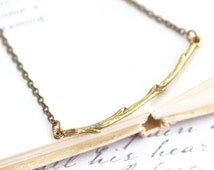 Gold Branch Necklace - Bar Necklace - Simple - Nature Jewelry - Golden Branch - Gold Twig - Girlfriend Gift - Mothers Day Gift