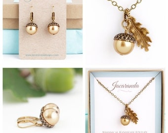 Woodland Jewelry Gift Set, Valentines Thanksgiving Acorn Necklace Earrings, Holiday Jewelry, Woodland Wedding