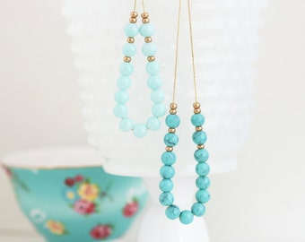 Turquoise Aqua Beaded Necklace - Gold Plated Chain - Glass Beads - Choose Your Color - Aqua Turquoise Beaded Necklace - Girlfriend Gift