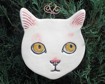White Cat Ceramic Ornament or Window Decoration