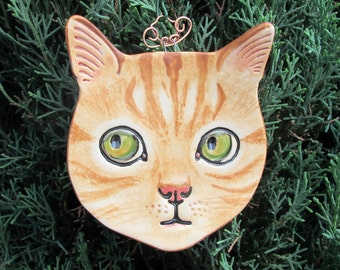 Orange Tabby Cat with green yellow eyes Ceramic Ornament or Window Decoration