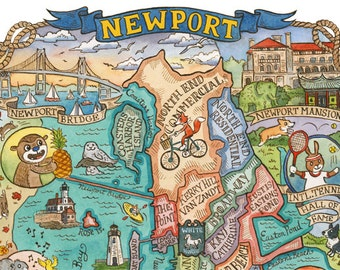 "Map of Newport Rhode Island Art Print 8"" x 10"""