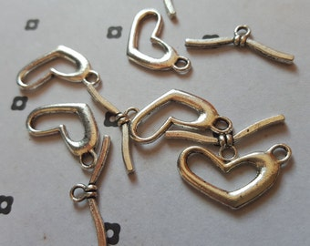 Silver plated Heart toggle clasps (5 set)