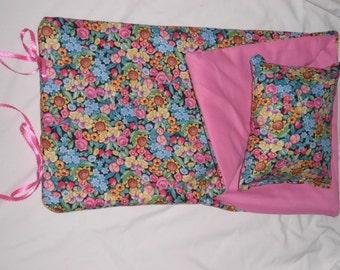 Handmade Sleeping Bag (Pink  Flowers) fits 18 inch Doll Like American Girl