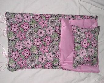 Handmade Sleeping Bag (Gray and Pink Flowers) fits 18 inch Doll Like American Girl