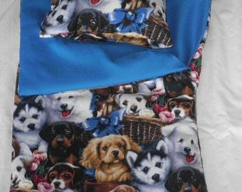 Handmade Sleeping Bag (Puppies) fits 18 inch Doll Like American Girl