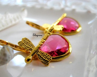 Bohemian teardrop fuchsia pink Earrings-Wimsical Dragonfly drop earrings-Gold Dragonfly and gemstone earrings-Ruby earrings-Romantic,boho