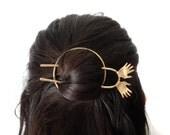 Hair Ware // Jazz Hands with Red Nails Bun Holder - Sculptural Abstract Weird Hair Slide - Top Knot Holder- Bun Holder