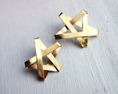 Star Power- Folded Brass Star Studs