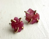 Mozambique Ruby Slice Studs in 14k Gold-Fill Prongs