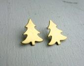 Brass Christmas Tree Studs