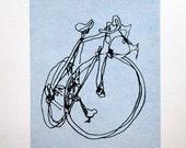 Bicycle Art Print - Classic Active Road Bike- Black on Blue
