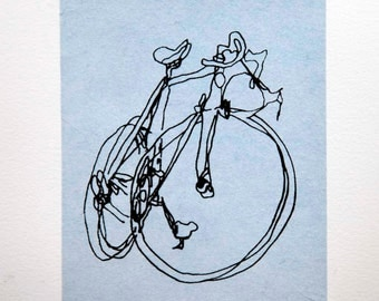 Bicycle Art Print - Classic Active Road Bike- Black on Blue