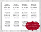 Printable Sheet of 12 Personalized Jordan Almond Poem Wedding Favor Tags - Black and Lavender - Can Be Printed on White or Cream Card Stock