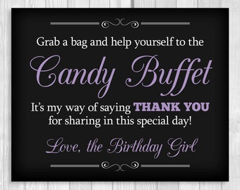 SALE Printable Grab a Bag and Help Yourself to the Candy Buffet 8x10 Black, White and Lavender Purple Birthday Girl Sign - Instant Download