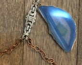 Vintage rhinestone and modern blue agate pendant one of a kind repurposed necklace