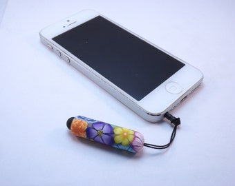 Handmade YOUR CHOICE COLOR Millefiori Floral Polymer Clay Mini Stylus Headphone Jack Dust Plug, Cell Phone, IPod, IPad, Tablet