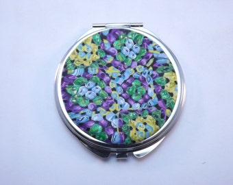 Polymer Clay Embellished Compact Purse Mirror, Colorful Faux Granny Squares Afghan