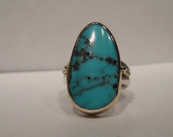 Turquoise  Sterling Silver  14 kt Gold .... Ring ... Size 9 ...  e813