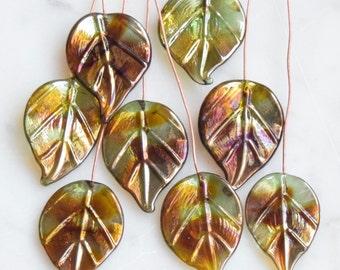 8 Bling Leaves Head Pins Green Brown Gold Purple Glass Headpins Handmade lampwork glass headpins by Beadfairy Lampwork