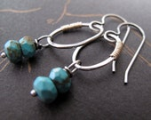Reserved for Stasia - Turquoise & Sterling Silver Earrings - organic circles by Modern Bird Jewelry