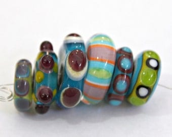 Set of Handmade Artisan Lampwork Glass Beads in Bright Colors and Disk Shapes