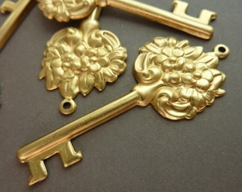 3 Ornate Large Key Charms - Floral - Raw Brass
