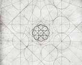 Geometry Art Print  Fine Art Giclee Print Gray Wall Art Line Drawing Modern Art for Men 8x10 11x14 'Geometry Sketch Twelve'