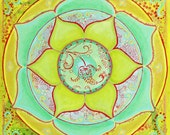 Mandala art print mint green wall art meditation room yoga art giclee print 8x8 12x12  'Green Lotus Mandala'