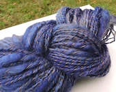 Royal Blue Navy Art Yarn Bulky Thick and Thin Mohair Merino 15-7-95