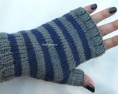 Gray and blue mitts, Fingerless Gloves, Unisex Gloves, Striped mitts