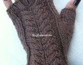 Cabled Mitts, Fingerless Mitts, Women's Fingerless Gloves, Men's Fingerless Gloves, Cable Knitted Mitts