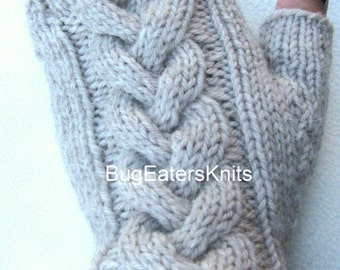 Cabled Fingerless Gloves, Cabled Mitts, Hand Knit Mitts, Women's Fingerless Gloves, Men's Fingerless Gloves, Unisex