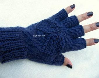 Navy Blue Fingerless Gloves, Women's Fingerless Gloves, Hand Knit Leaves