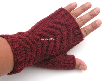 Red Fingerless Mitts, Women's Mitts, Hand knit cabled mitts