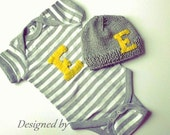Personalized Bodysuit and Hat- You pick letter and color, Made in USA, unisex baby outfit, gender neutral outfit, personalized bodysuit set