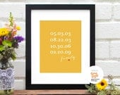 Special Dates Art Print, Mothers Day Gift, Grandma Gift, Gift for Wife, Gift for Godmother, Gift for Grandmother, Mom Gift - 8x10 Art Print