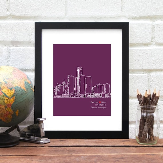 Detroit City Skyline, Personalized Wedding Gift, Engagement Gift, Custom Anniversary Gift, Personalized Detroit Michigan Bride, Gift for Him