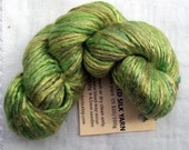 Mini skein 20g Hand Dyed Worsted weight Silk Yarn - Lemon Chartreuse