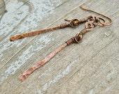 Wire wrapped hammered copper dangle earrings with Czech glass crystal beads