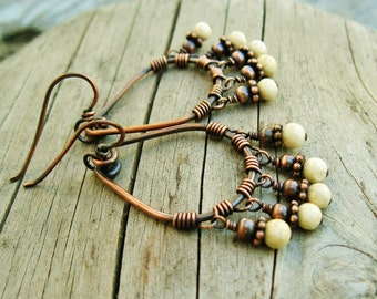 Riverstone Beads and Antiqued Copper Wire Wrapped Teardrop Hoops with beaded dangles earrings