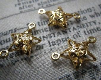Tiny Star Filigree Shiny Gold Plated 15X9mm Connectors 12 Pcs