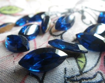 Capri Blue Vintage 15X7 Faceted Navette Glass Gems Foiled 12 Pcs