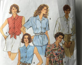 Vintage Women's Blouse Pattern, Pattern 8302, Size NN, Simplicity Pattern, Size 10-16, Sleeveless Blouse, Short Sleeve Blouse