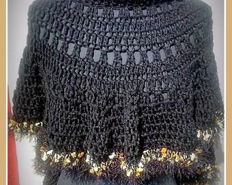Fancy Black Caplet Poncho