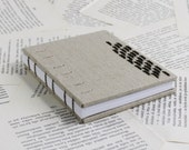 Small Notebook in Natural Linen with Antique Brass embellishments