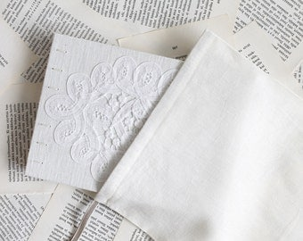 Medium Size Coptic Bound Wedding Guest Book with White Linen Covers Vintage Lace and Drawstring Storage Pouch