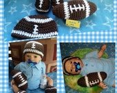TOUCH DOWN! football set for baby boys perfect for photo prop pictures, Football hat and booties plus amigurumi ball toy