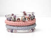 textile jewelry crochet bracelet in salmon pink and silver grey